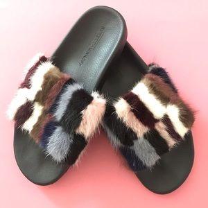Rebecca Minkoff Sammi Genuine fur slide sandals